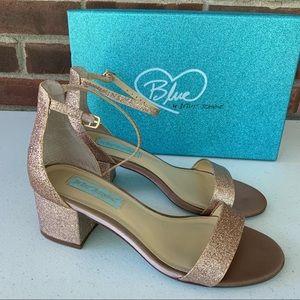 Betsey Johnson miri Glitter Chucky Heel Sandals